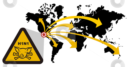 Risk of global epidemic of swine flu stock photo, Warning sign of swine flu that extends from Mexico to the world. Vector file also available. by Cienpies Design