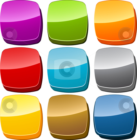 Blank icon button set stock photo, Blank empty navigation icon button multicolored illustration set by Kheng Guan Toh