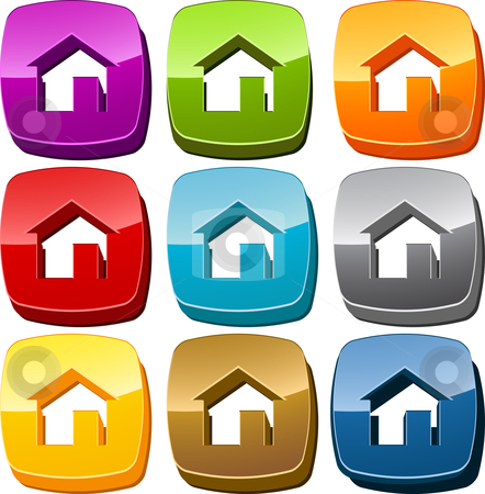 Home icon button set stock photo, Home start navigation icon button multicolored illustration set by Kheng Guan Toh