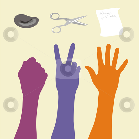 Rock paper scissors hand sign stock photo, Illustration of rock paper scissors game and hand sign. by Cienpies Design