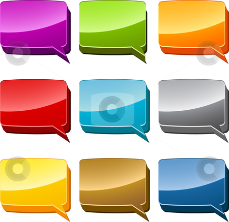 Speech bubble icon set stock photo, Rectangle Multicolored  speech bubble 3d icon illustration set by Kheng Guan Toh