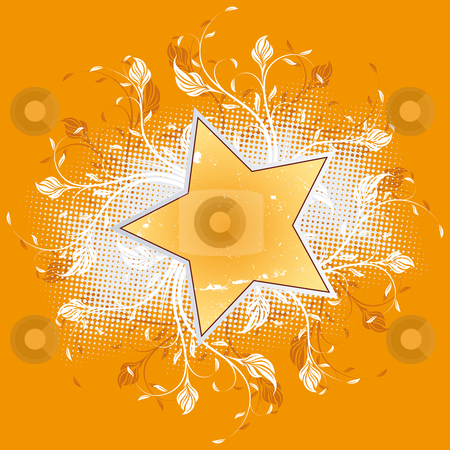 Flowers with star stock photo, Abstract flowers with star isolated on orange by Vadym Nechyporenko