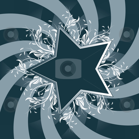 Star Flower design stock photo, Star Flower design with blue swirl back by Vadym Nechyporenko