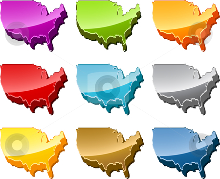 America map icon set stock photo, America USA country map icon button multicolored illustration set by Kheng Guan Toh