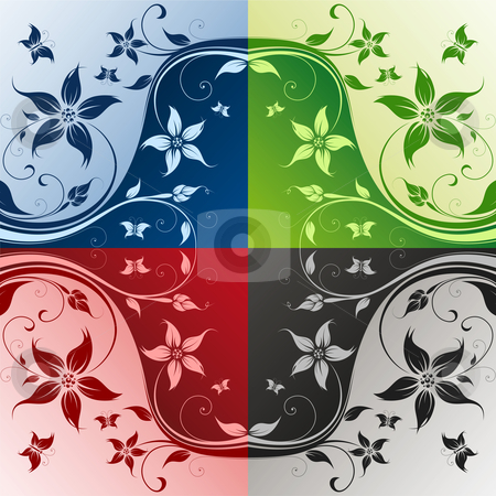 Four color flower stock photo, Abstract Floral Background. Vector illustration. Abstract Pattern. by Vadym Nechyporenko