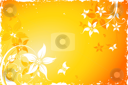 Grunge flower background with butterfly stock photo, Grunge Floral Background with butterfly. Vector illustration. Abstract Pattern. by Vadym Nechyporenko