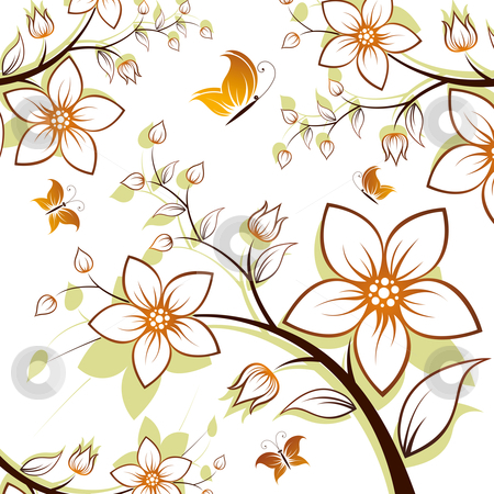 Flower tree stock photo, Vector flower background with butterfly isolated on white by Vadym Nechyporenko