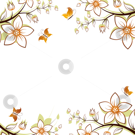 Flower tree frame stock photo, Vector flower background with butterfly isolated on white by Vadym Nechyporenko