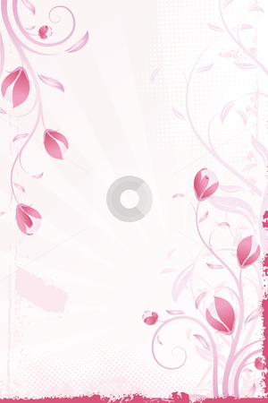 Abstract pink background stock photo, Abstract grunge pink background with flowers and leaves by Vadym Nechyporenko