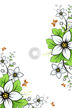 Flower frame stock photo, Flower frame with leaves and butterfly for your design by Vadym Nechyporenko