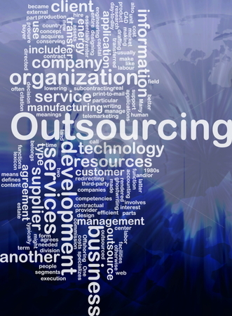 Outsourcing  word cloud stock photo, Word cloud concept illustration of business outsourcing international by Kheng Guan Toh