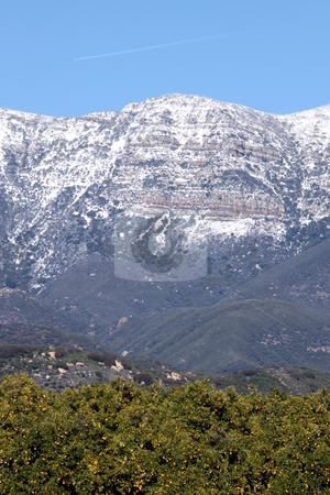 Topa Topa Snow stock photo, Topa Topa mountains with snow near Ojai, California by Henrik Lehnerer