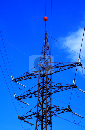 Foto of voltage tower at summer day stock photo, Foto of high voltage tower at summer day by vetdoctor