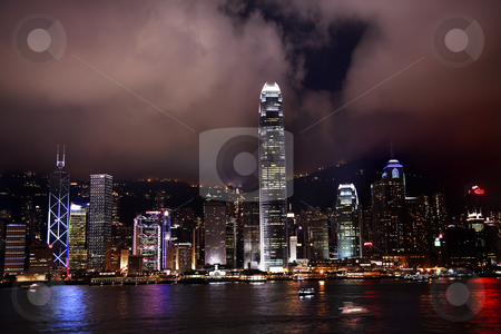 Hong Kong Harbor at Night from Kowloon stock photo, Hong Kong Harbor at Night from Kowloon Reflection by William Perry