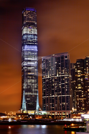 International Commerce Center ICC Building Kowloon Hong Kong Har stock photo, Inernational Commerce Center ICC Buildking Kowloon Hong Kong Harbor at Night 4th Largest Building in the World by William Perry