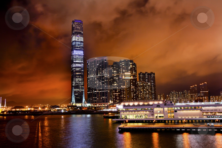 International Commerce Center ICC Building Kowloon Hong Kong Har stock photo, Inernational Commerce Center ICC Building Kowloon Hong Kong Harbor at Night 4th Largest Building in the World by William Perry