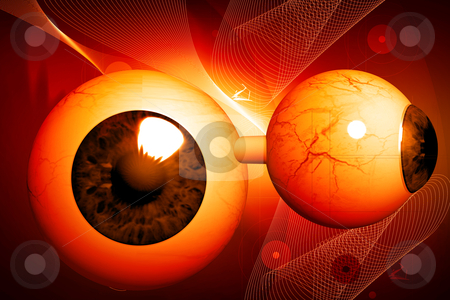 Human eye	 stock photo, 3d rendering human eye in color background by dileep