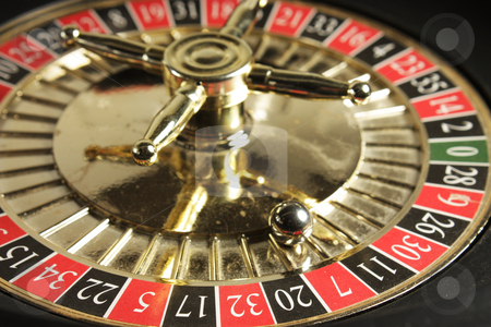 Roulette Wheel stock photo, Roulette wheel showing the lucky number 7 by photolady
