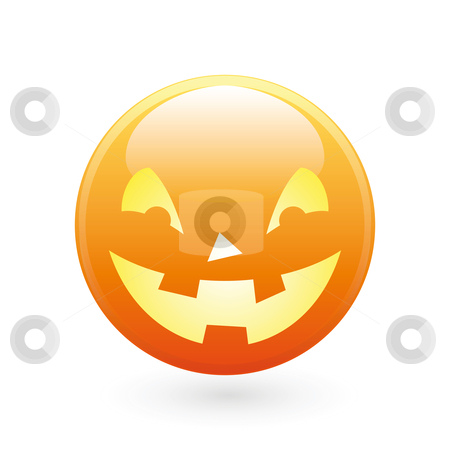 Halloween smile icon stock photo, Abstract halloween icon on white, smile pumpkin by Vadym Nechyporenko