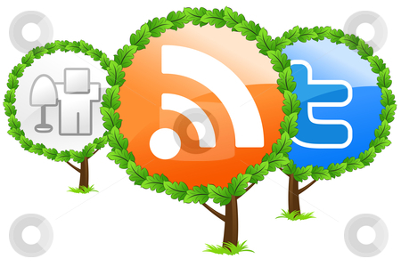 Social media trees icon stock photo, Social media trees icon isolated on white by Vadym Nechyporenko