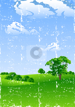 Summer landscape stock photo, Grunge summer landscape with trees and flowers vector illustration by Vadym Nechyporenko