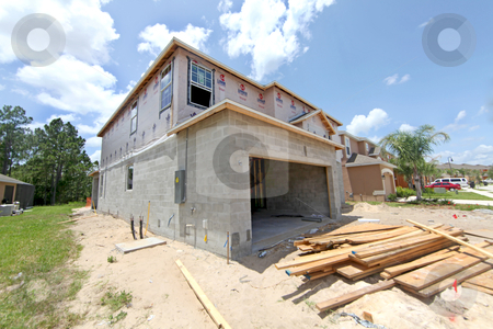 House Construction stock photo, A large House under construction in Florida. by Lucy Clark