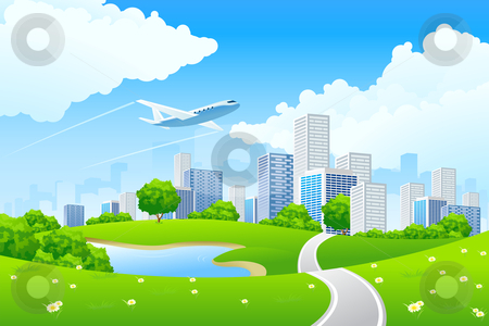 Green City Landscape stock photo, Green City Landscape with road lake and flowers by Vadym Nechyporenko