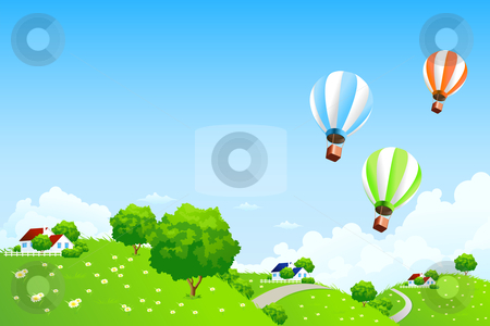 Green Landscape with Balloons stock photo, Green Landscape with Balloons clouds and houses by Vadym Nechyporenko