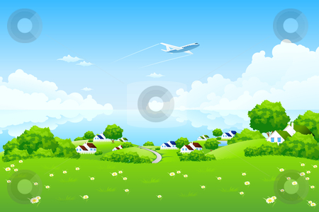 Green Landscape with aircraft stock photo, Green Landscape with aircraft clouds water and houses by Vadym Nechyporenko