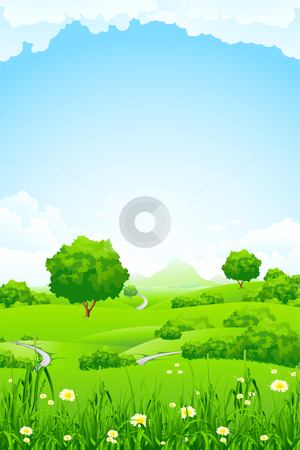 Green Landscape with trees and mountain stock photo, Green Landscape with trees clouds flowers and mountains by Vadym Nechyporenko