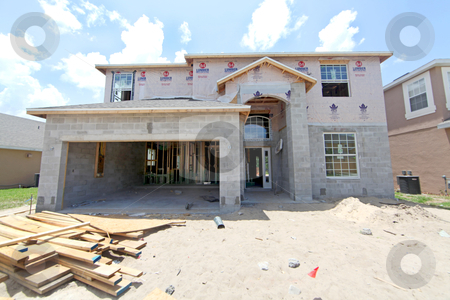 House Construction stock photo, A large house under construction in Florida by Lucy Clark