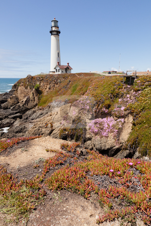 Pigeon Point Lighthouse stock photo, Pigeon Point Lighthouse is a lighthouse built in 1871 to guide ships on the Pacific coast of California. by Mariusz Jurgielewicz