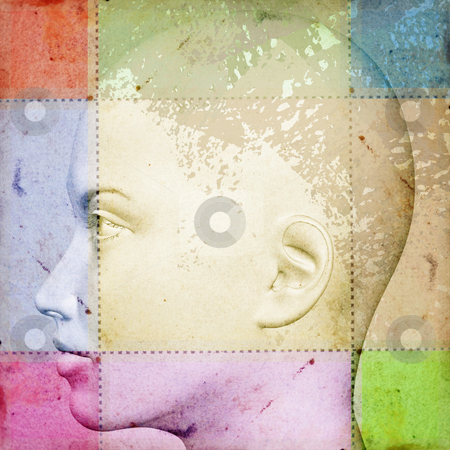 Female head with smudged paint stock photo, Female head on stained vintage paper with smudged paint. 3d abstract illustration. by sirylok