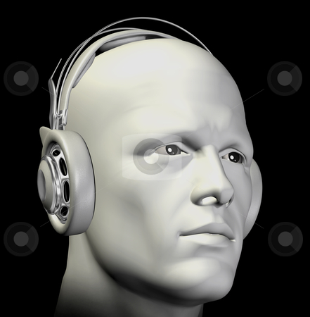 Man with headphones illustration stock photo, Man with headphones listening to music. 3d illustration. by sirylok