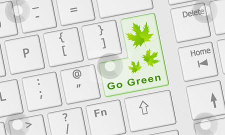 Computer keyboard with Go Green key stock photo, Computer keyboard with special Go Green key in green by marphotography