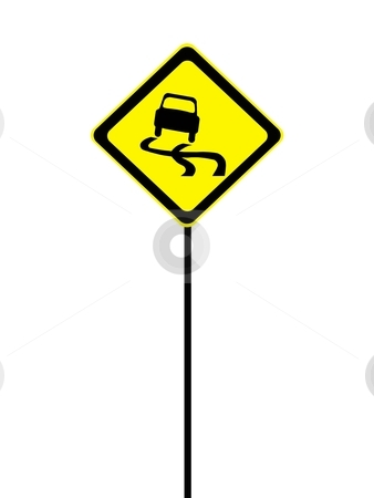 Road Sign stock photo, A road sign isolated against a white background by Kitch Bain