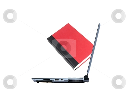 Ebook stock photo, Red books and a laptop isolated against a white background by Kitch Bain