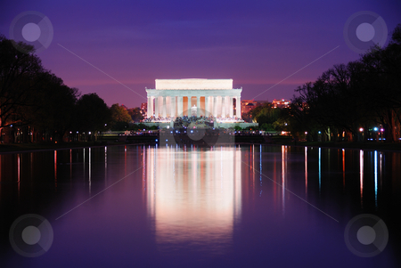 Washington DC stock photo, Lincoln Memorial at sunset with lake reflections, Washington DC by rabbit75_cut