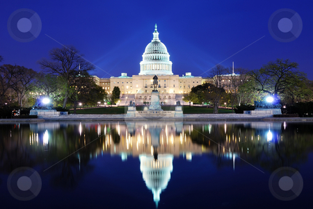 Washington DC stock photo, Capitol Hill Building at dusk with lake reflection and blue sky, Washington DC. by rabbit75_cut
