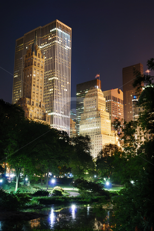 New York City  stock photo, New York City Central Park at night with Manhattan skyscrapers lit with light.  by rabbit75_cut