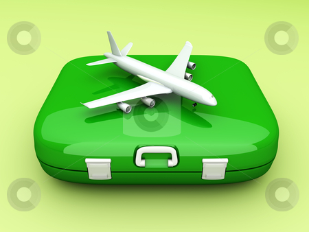 Air Travel stock photo, Air travelling. 3D rendered Illustration. Unbalanced lightning setup. by Michael Osterrieder
