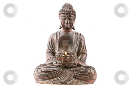 Buddha holding flame stock photo, A high-key image of a buddha statue holding a burning flame on a white background. by Robby Ticknor
