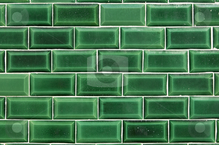 Green decorative tile stock photo, Closeup of a wall covered with green decorative tiles by Manuel Ribeiro