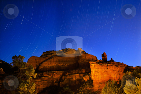 Boynton Red Rock Canyon Star Trials Night Sedona Arizona stock photo, Boynton Red Rock Canyon Star Trails Sedona Arizona by William Perry