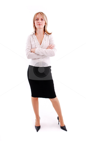 Young business woman stock photo, Young business woman. Isolated over white background by sutike