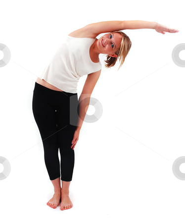 Beautiful girl practicing yoga stock photo, Beautiful girl practicing yoga on isolated white background by sutike