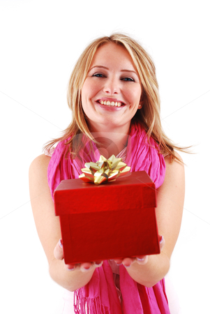 Happy woman with a gift stock photo, Young happy woman with a gift by sutike