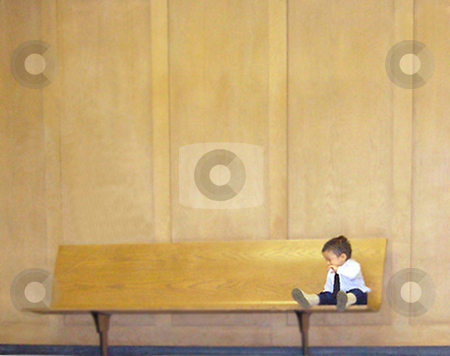 Little Man stock photo, A little boy on a bench all alone.  by shell