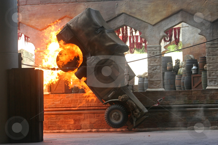 Truck on Fire stock photo, A Truck catching on fire and flipping over by Lucy Clark