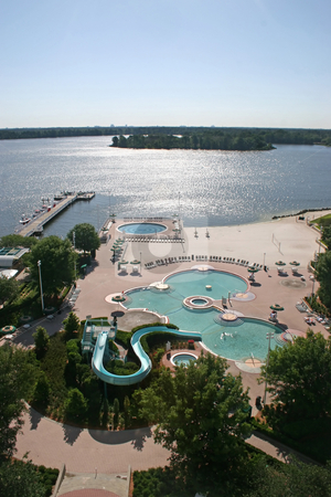 Swimming Pools and Lake stock photo, 2 Swimming Pools, a Beach and Lake by Lucy Clark